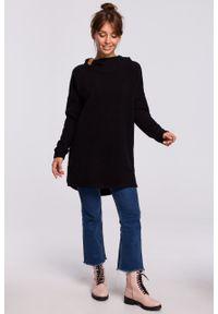 e-margeritka - Bluza długa oversize z kapturem czarna - s/m. Typ kołnierza: kaptur. Kolor: czarny. Materiał: bawełna, dzianina, materiał, poliester. Długość: długie. Wzór: gładki
