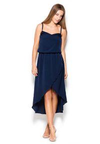 Niebieska sukienka asymetryczna Katrus na ramiączkach, midi