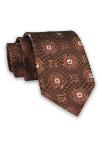 Miedziany Męski Krawat -Chattier- 8 cm, Klasyczny, Elegancki, Rudy, Wzór Geometryczny. Kolor: brązowy. Materiał: tkanina. Wzór: geometria. Styl: klasyczny, elegancki
