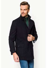 Niebieski płaszcz Lancerto klasyczny, ze stójką, na jesień