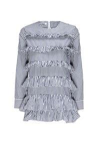 Anais Jourden - Sukienka ANAIS JOURDEN. Typ kołnierza: kołnierz z falbankami. Materiał: bawełna. Długość rękawa: długi rękaw. Wzór: aplikacja, prążki, nadruk. Długość: mini