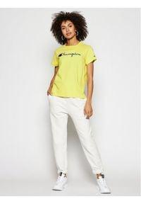 Champion T-Shirt Script Logo Crew Neck 110992 Żółty Heritage Fit. Kolor: żółty
