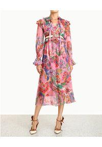 Sukienka midi, na wiosnę, w kwiaty, z długim rękawem