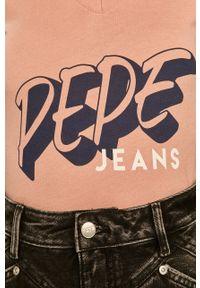 Różowa bluzka Pepe Jeans z nadrukiem, casualowa #5