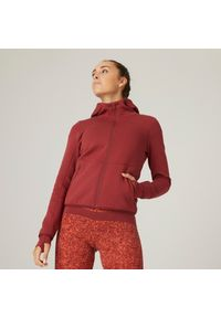 DOMYOS - Bluza fitness. Materiał: włókno, tkanina, materiał, bawełna. Wzór: ze splotem. Sezon: zima. Sport: fitness
