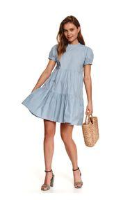 Niebieska sukienka TOP SECRET gładkie, koszulowa