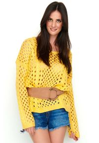 Pomarańczowy sweter oversize Makadamia w ażurowe wzory