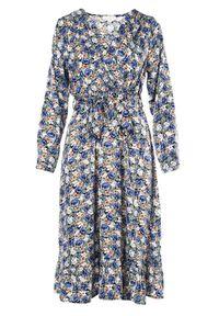 Born2be - Granatowa Sukienka Brizolle. Typ kołnierza: dekolt kopertowy. Kolor: niebieski. Materiał: tkanina, materiał. Długość rękawa: długi rękaw. Wzór: kwiaty. Typ sukienki: kopertowe. Długość: midi