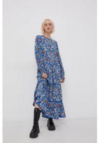 Superdry - Sukienka. Kolor: niebieski. Materiał: tkanina, koronka. Długość rękawa: długi rękaw. Typ sukienki: rozkloszowane
