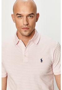 Polo Ralph Lauren - Polo. Typ kołnierza: polo. Kolor: różowy. Materiał: dzianina. Długość: krótkie. Wzór: gładki, aplikacja