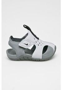 Szare sandały Nike Kids na rzepy, z okrągłym noskiem
