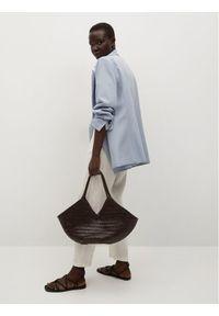 mango - Mango Spodnie materiałowe Linen 87047878 Biały Regular Fit. Kolor: biały. Materiał: materiał