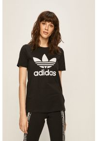 Czarna bluzka adidas Originals z nadrukiem, na co dzień