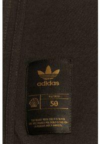 Czarny t-shirt adidas Originals na co dzień, casualowy, z nadrukiem, z okrągłym kołnierzem