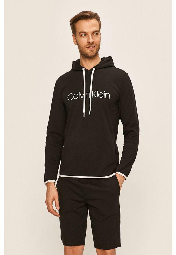 Czarna bluza nierozpinana Calvin Klein Underwear z nadrukiem, z kapturem