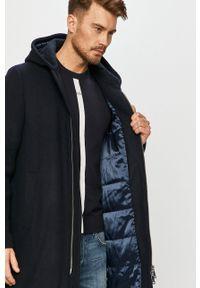 Niebieski płaszcz Armani Exchange z kapturem, na co dzień, casualowy