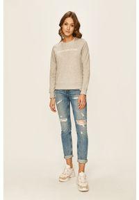 Szara bluza Calvin Klein Jeans na co dzień, casualowa, bez kaptura, z nadrukiem