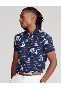 Ralph Lauren - RALPH LAUREN - Granatowa koszulka polo Custom Fit Mesh. Typ kołnierza: polo. Kolor: niebieski. Materiał: mesh. Długość: długie. Wzór: aplikacja, nadruk. Styl: wakacyjny