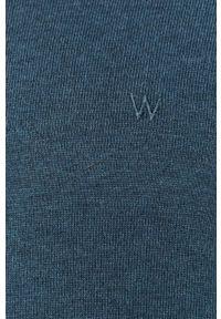Niebieski sweter Wrangler długi, na co dzień, z okrągłym kołnierzem, casualowy