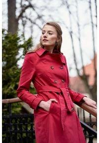 Marie Zélie - Trencz Adria bawełna z elastanem czerwony. Kolor: czerwony. Materiał: bawełna, elastan. Sezon: lato. Styl: klasyczny #4
