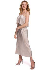Złota sukienka wizytowa MOE z dekoltem typu hiszpanka