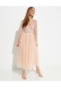 NEEDLE & THREAD - Sukienka midi Tempest Bodice. Kolor: różowy, wielokolorowy, fioletowy. Materiał: tiul. Długość rękawa: długi rękaw. Wzór: aplikacja. Długość: midi