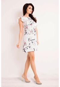 Infinite You - Zjawiskowa trapezowa sukienka w kwiaty z falbankami. Typ kołnierza: kołnierz z falbankami. Materiał: materiał, elastan. Długość rękawa: krótki rękaw. Wzór: kwiaty. Typ sukienki: trapezowe