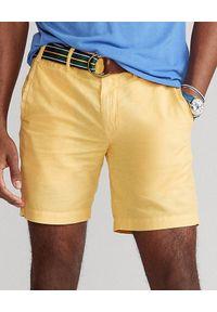 Ralph Lauren - RALPH LAUREN - Żółte spodenki z lnu Straight Fit. Kolor: żółty. Materiał: len. Wzór: napisy, aplikacja