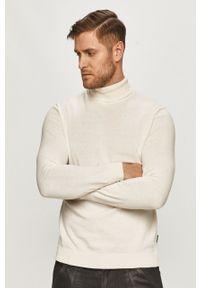 Biały sweter Only & Sons na co dzień, casualowy, długi, z długim rękawem