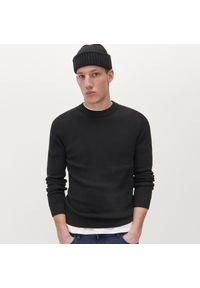 Reserved - Klasyczny bawełniany sweter - Czarny. Kolor: czarny. Materiał: bawełna. Styl: klasyczny