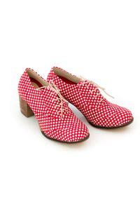 Zapato - sznurowane półbuty na 6 cm słupku - skóra naturalna - model 251 - kolor czerwona szachownica. Kolor: czerwony. Materiał: skóra. Obcas: na słupku