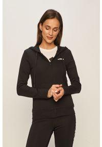 Czarna bluza rozpinana Adidas z kapturem, z aplikacjami