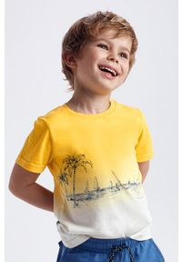 Żółty t-shirt Mayoral z nadrukiem, na co dzień