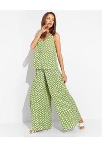 MALIPARMI - Zielone spodnie kuloty. Kolor: zielony. Materiał: elastan, tkanina, wiskoza, materiał. Długość: długie