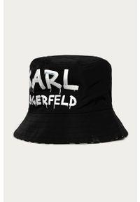 Czarny kapelusz Karl Lagerfeld z nadrukiem, klasyczny