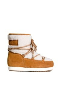 Moon Boot - Buty MOON BOOT FAR SIDE JR GIRL LOW. Kolor: beżowy. Materiał: futro, guma, zamsz. Szerokość cholewki: normalna. Sezon: zima