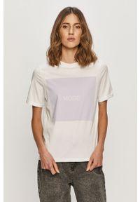 Biała bluzka Pieces z nadrukiem, na co dzień, casualowa