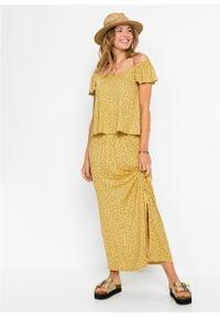 Długa sukienka z dekoltem carmen bonprix żółto-czarny wzorzysty. Typ kołnierza: typu carmen. Kolor: żółty. Długość: maxi