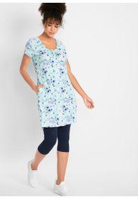 Długa tunika z kreszowanego materiału + legginsy 3/4 bonprix ciemnoniebiesko-jasnoniebieski w kwiaty. Kolor: niebieski. Materiał: materiał. Długość: długie. Wzór: kwiaty