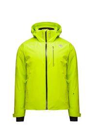 Zielona kurtka narciarska Descente w kolorowe wzory