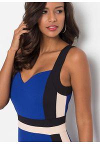 Sukienka w paski bonprix niebiesko-czarny w paski. Kolor: niebieski. Wzór: paski. Typ sukienki: ołówkowe. Styl: elegancki