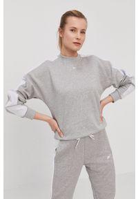 Reebok - Bluza bawełniana. Okazja: na co dzień. Kolor: szary. Materiał: bawełna. Długość rękawa: długi rękaw. Długość: długie. Styl: casual