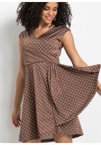 Sukienka z dżerseju w kropki bonprix matowy brąz - biel wełny w kropki. Kolor: brązowy. Materiał: jersey, wełna. Wzór: kropki