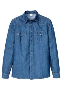 """Koszula dżinsowa Slim Fit, długi rękaw bonprix niebieski """"stone"""". Kolor: niebieski. Długość rękawa: długi rękaw. Długość: długie"""