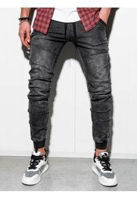 Ombre Clothing - Spodnie męskie jeansowe joggery P551 - czarne - XXL. Kolor: czarny. Materiał: jeans. Wzór: aplikacja