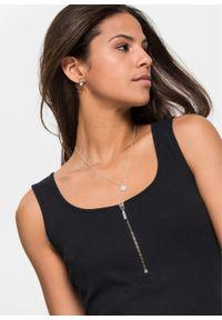 Sukienka shirtowa z zamkiem bonprix czarny. Kolor: czarny. Wzór: prążki. Styl: elegancki