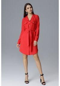 e-margeritka - Koszulowa sukienka midi zapinana na guziki czerwona - xl. Okazja: na spotkanie biznesowe, do pracy. Kolor: czerwony. Materiał: poliester, materiał. Długość rękawa: długi rękaw. Wzór: aplikacja. Typ sukienki: koszulowe. Styl: elegancki, biznesowy. Długość: midi