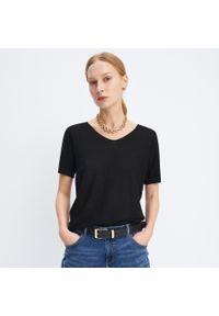 Czarna bluzka Mohito z krótkim rękawem, krótka
