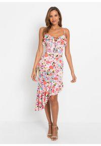 Sukienka off-shoulder bonprix biel wełny - niebiesko-różowy w kwiaty. Kolor: biały. Materiał: wełna. Wzór: kwiaty. Typ sukienki: asymetryczne