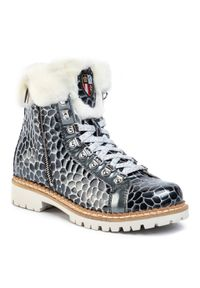 Szare buty trekkingowe New Italia Shoes z cholewką